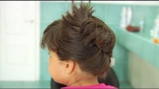 Recogido arreglado con ganchos, peinados para niña