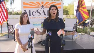 Former UN Ambassador Nikki Haley appears at Senator McSally campaign event