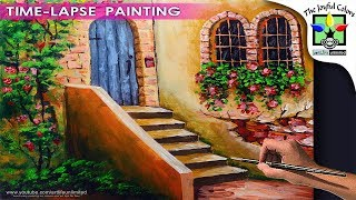 Learn How To Paint Flowering Old Wall With Antique Door And Windows | Acrylic Painting Tutorial