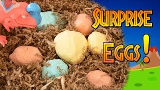 Fizzing dinosaur surprise eggs -- magic hatching eggs filled with dinosaur toys, dino skulls