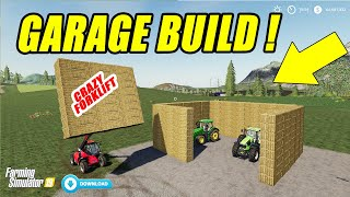 How to Build a Garage From Bales? Amazing Forklifts Mod!! Farming Simulator 19