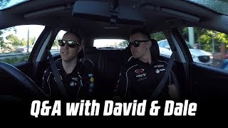 David Reynolds and Dale Wood answer questions on the way to the track
