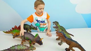 Динозавры ИГРУШКИ Хищники против Травоядных. Мультики Игры про Машинки и Динозавра