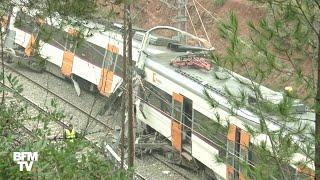 Barcelone: un train déraille après un glissement de terrain
