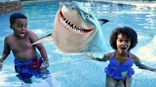 GIANT SHARK IN POOL vs Shiloh and Shasha - Onyx Kids
