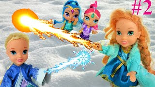 Elsa and Anna Toddlers and Olaf Play together in Snow Anna gets Powers Part 2 frozen Toys In Action