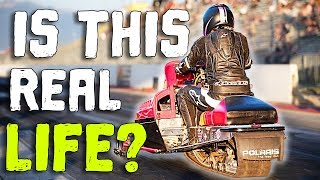 Snowmobile SHREDS Down the Track!