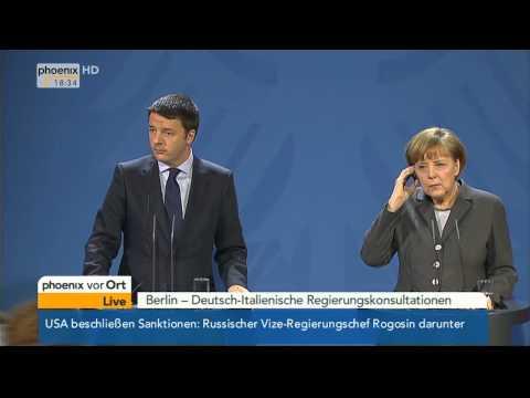 Deutsch-Italienische Beziehungen - PK mit Merkel & Renzi am 17.03.2014