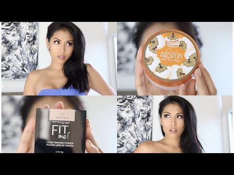 Drugstore Face Powders Review   Coty Airspun Loose Face Powder & Maybelline Fit Me in Medium