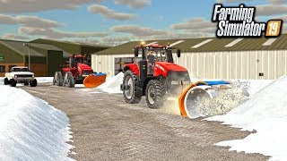 SNOW IN FARM SIM! SNOWPLOWING 2 FEET OF SNOW WITH CASE MAGNUM | FARMING SIMULATOR 2019