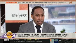 ESPN FIRST TAKE | Stephen A. Smith REACT to Lakers ranked 4th among title contenders by ESPN experts