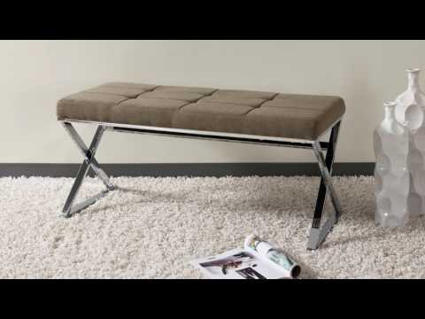 Video for Huntington Modern Black Leatherette Bench with X Shape Chrome Base