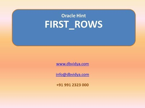 Oracle Hint-FIRST_ROWS