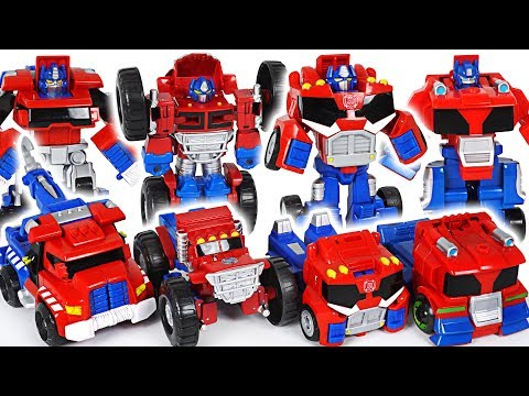 Witches and dinosaurs invaded! Transformers Rescue Bots Optimus Prime 4 brothers! Go! - DuDuPopTOY