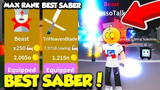 I GOT THE MOST EXPENSIVE SABER AND MAX BEAST RANK IN SABER SIMULATOR UPDATE!! (Roblox)