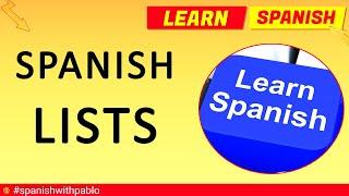 Spanish Vocabulary: Language Lists Compilation - Learn Spanish with Pablo.