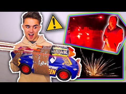 FIREWORKS VS. RC CAR! (Huge Explosion} *Rockets Strapped To A Car*