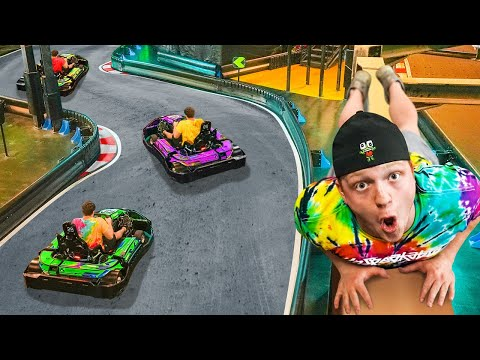 SNEAKING Into Overnight RACE TRACK Challenge!