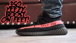 Yeezy 350 Boost (Black/Red) On Foot Review!