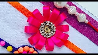 How to make Rakhi # 03, Rakhi making ideas l how to make Rakhi easily at home with satin ribbon,DIY