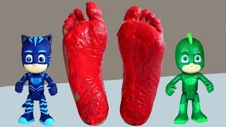 Pj Masks heads toys with Feet Painting And Learn Colors with Pj Masks and Colorful Feet