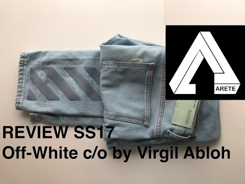 Off-white c/o Virgil Abloh men's light blue jeans Review – SS17 DIAG SKINNY 5 POCKETS