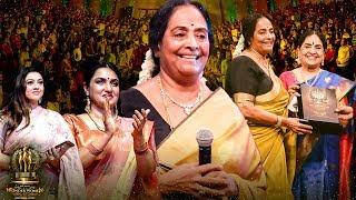 KR Vijaya Honoured With Lifetime Achievement Award! Standing Ovation By Fans! | Wonder Women Awards