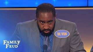 LISTEN TO THIS! De Von sounds like one ANGRY ROOSTER!   Family Feud