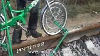 """ВЕЛОДРЕЗИНА  """"Кузнечик """" 2010/ Railbike, draisine, motodraisine"""