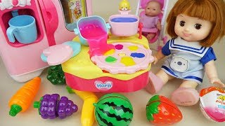 Fruit and baby doll kitchen jelly cooking play baby Doli house