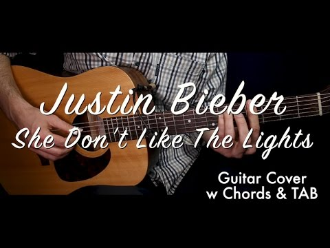Justin Bieber - She Don't Like The Lights guitar cover/guitar (lesson/tutorial) w Chords TAB