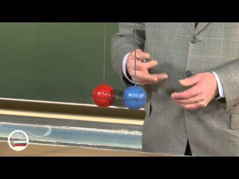 Расталкивание пружиной шаров разной массы. - демонстрация в инженерно физическим институте