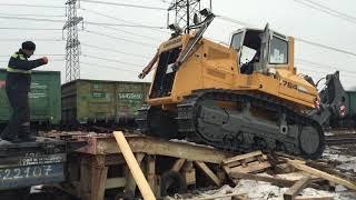 Погрузка техники весом 52 тонн на платформу