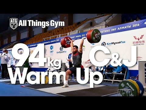 94kg Warm Up Area Clean and Jerk Almaty 2014 World Weightlifting Championships