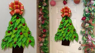 DIY PAPER CHRISTMAS HANGING/WREATH | CHRISTMAS DOOR/WALL DECOR | PAPER BOW