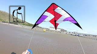 Flying one of my stunt kites on Brean Sands
