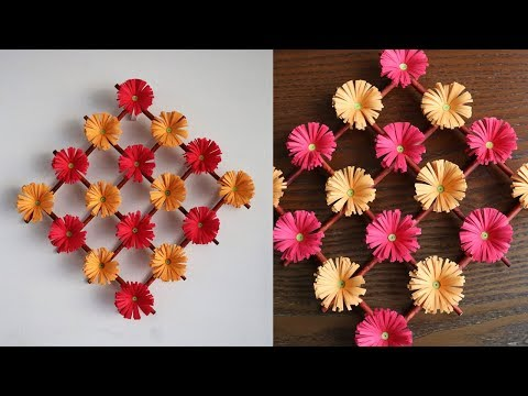 Paper Flower Wall Hanging 2 – DIY Hanging Flower  – Wall Decoration ideas