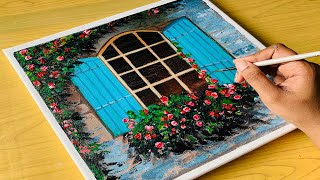 Flowers In Window Simple Painting| Acrylic For Beginners