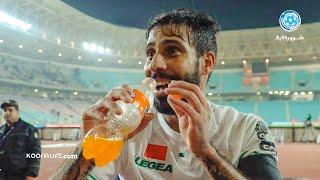 متولي يحتفل بقنينة الماء على طريقة ديربي الريمونتادا و يخلق الحدث مع الجماهير الرجاوية بعد التأهل