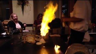 Shiro of Japan Hibachi, flames, rice tossing, stunts, jokes, cooking, Amazing!