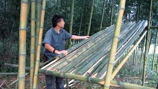 Set up a small bamboo house by the lake, just a small knife!