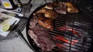 GRILLING SOME CHICKEN OFFSET WITH SKIRT STEAK