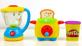 Blender and Toaster Kitchen Toy Appliances and Play Doh Breakfast for Kids