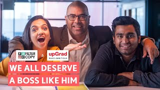 If we only wish all our bosses were this way! ❤️ By choosing from a wide range of online courses offered by upGrad, let your ambitions turn into success stories. Check out upGrad: https://bit.ly/FilterCopy_upGrad_2 and #RahoAmbitious Check out our latest video and tell us if your boss has ever treated you like this?   Writer  Preksha Khanna   Director  Pallavi Kedia    Assistant Director  Manish Kharage  Yash Shah   Dop  Abhijeet Chaudhari   Executive Producer  Shagun Kazania   Producer  Sripriya Yegneswaran   Cast  Ahsaas Channa  Naveen Kaushik Viraj Ghelani  Shagun Kazania   Junior Coordinator   Ravindra Suri & Co   Editor  Vickesh Khare   Graphics  Arzoo Naqvi Anuj Dabral   Color Grading Vaibhav Lonkar    Sound Design  Hardik Desai   Makeup And Hair  Sunny B Jaiswal Nandu Chakraborty   Dressman  Nitesh Binod Prasad   Art Director  Anaya Joshi   Video Operations  Raunak Ramteke Amulya Prabhu   Camera Attendant  Sonu Kumar Yadav   Focus Puller  Sameer Mahto   Light Attendant  Santosh Yadav Sharif Sharvan Raju Prasad   Sound Recordist  Ashok Tiwari   Spot  Pritam Kumar Arvind Kumar Sahni   Subtitles Pallavi Kedia     Brand Solutions   Vishwanath Shetty Vidushi Gaur Shreya Agarwal Shivi Singh Nishant Gulati   Styling Partners   And Aeropostale Gap Sacorina & Dalip   Costume Stylist  Akanksha Vira   Casting  Pocket Aces Talent Team   Casting Associate   Gunjan Saini