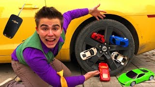 Mr. Joe on Chevrolet Camaro VS A LOT OF Toy Cars in Wheels Car & Started Race for Kids