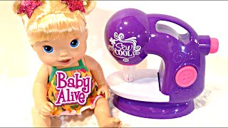 Baby Alive Pretty in Pigtails Doll and Sew Cool Sewing Studio Unboxing