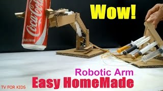 playing jenga with hydraulic powered robotic arm from cardboard - TH