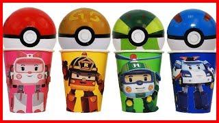 救援小英雄波力Poli杯子與皮卡丘精靈球的出奇蛋驚喜玩具