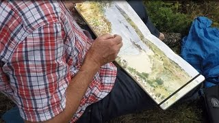 Plein air painting Isles of Scilly Cornwall , beaches, rocks, sea