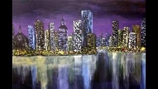 Full Acrylic Cityscape Painting Tutorial - A City Night
